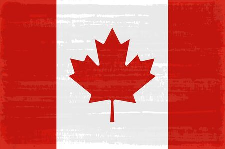 Canadian national flag isolated vector illustration. Travel map design graphic element. World county symbol. Canadian flag icon with grunge texture. Flat flag of Canada with red maple leaf on white Çizim