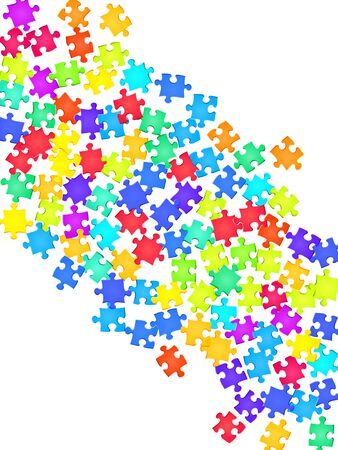 Game tickler jigsaw puzzle rainbow colors parts vector illustration. Group of puzzle pieces isolated on white. Success abstract concept. Jigsaw gradient plugins. Çizim