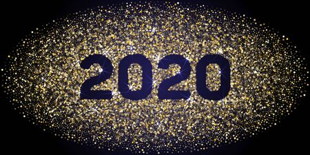 Cool 2020 New Year banner with gold glitter rich glossy confetti. Geometric frame with glittering gold sparkle tinsels. New Year premium vector template. Festive holiday card, banner or party poster