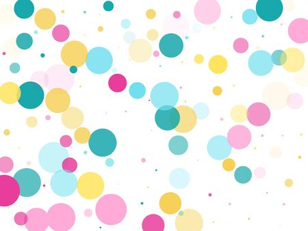 Memphis round confetti vintage background in cyan, crimson and gold on white.  Childish pattern vector, childrens party birthday celebration background.  Holiday confetti circles in memphis style.
