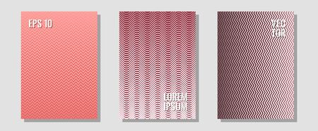 Halftone gradient texture vector cover layouts. Laconic nifty mockups. Zigzag halftone lines wave stripes backdrops. Corporate catalogs. Multiple lines cool gradient texture backgrounds.