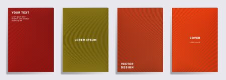 Minimal covers linear design. Radial semicircle geometric lines patterns. Cool poster, flyer, banner vector backgrounds. Line stripes graphics, title elements. Cover page templates. Ilustrace