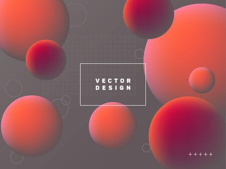 Trendy gradient spherical shapes geometric vector background. Colorful abstract banner graphic design with text frame. Spherical gradient motion elements modern poster layout. Geometric shapes banner. Çizim