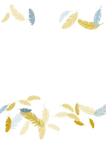 Majestic silver gold feathers vector background. Plumage trendy fashion shower decor. Detailed majestic feather on white design. Lightweigt plumelet windy floating pattern. Çizim