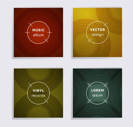 Geometric vinyl records music album covers set. Semicircle curve lines patterns. Simple creative vinyl music album covers, disc mockups. DJ records geometric layouts. Banners flyers cards set.