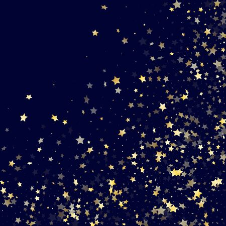 Gold gradient star dust sparkle vector background. Modern gold star sparkles dust elements on dark blue night sky vector illustration. Holiday starburst magical pattern.