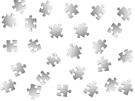 Business conundrum jigsaw puzzle metallic silver parts vector illustration. Group of puzzle pieces isolated on white. Cooperation abstract concept. Connection elements.