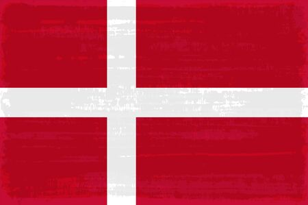 Danish national flag isolated vector illustration. Travel map design graphic element. Europe county symbol. Danish flag icon with grunge texture. Flat flag of Denmark with white cross over red.