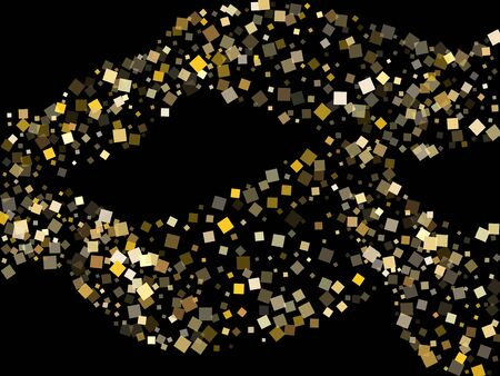 Minimal gold square confetti sparkles falling on black. Glittering Christmas vector sequins background. Gold foil confetti party decoration space. Rhombus particles party background. Çizim