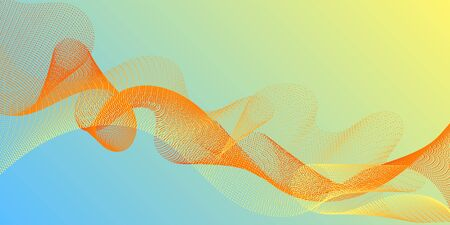 Wavy flowing lines on gradient background. Blend curves minimal 3d banner or flyer background. Abstract curl lines ripple texture design. Contemporary vector graphics with bent waves. Çizim