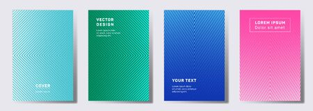 Colored cover templates set. Geometric lines patterns with edges, angles. Abstract backgrounds for notepads, notice paper covers. Lines texture, header title elements. Cover page layouts set.
