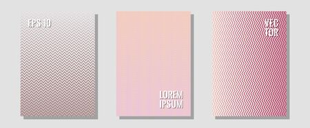 Halftone gradient texture vector cover layouts. Trendy magazines. Zigzag halftone lines wave stripes backdrops. Neoteric composition. Multiple lines cool gradient texture backgrounds. Çizim