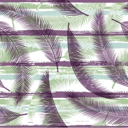 Exotic coconut palm leaves tree branches overlapping stripes vector seamless pattern. South african exotic foliage swimwear textile print. Stripes and tropical leaves illustration.