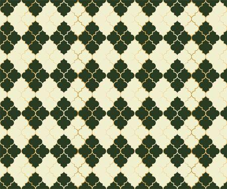 Turkish Mosque Vector Seamless Pattern. Argyle rhombus muslim textile background. Traditional ramadan pattern with gold grid. Cool islamic argyle seamless design of lantern lattice shape tiles. Ilustração