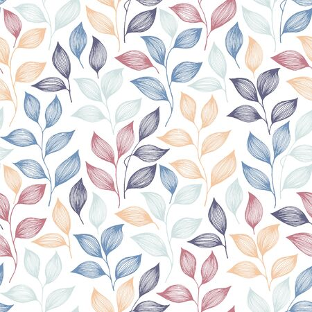 Wrapping tea leaves pattern seamless vector. Minimal tea plant bush leaves floral fabric print. Herbal sketchy seamless background pattern with nature elements. Flat summer foliage wallpaper. Çizim