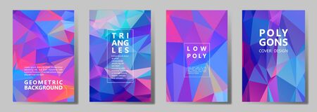 Facet low poly bright cover page layouts vector graphic design set. Crystal texture polygonal patterns. Gradient triangle polygons facet geometric abstract backgrounds. Çizim