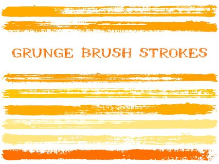 ink brush strokes isolated design elements. Set of paint lines. Retro stripes, textured paintbrush stroke shapes. Collection of ink brushes, stripes isolated on white, vector paint samples. Çizim