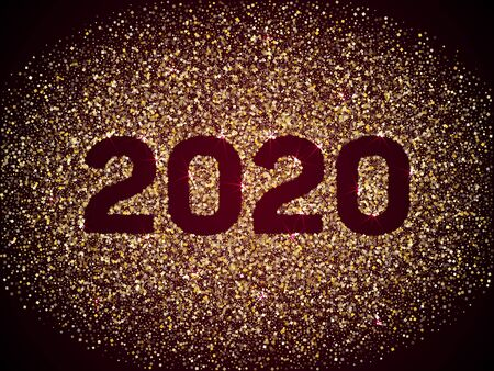 2020 New Year banner with gold glitter rich glossy confetti. Geometric frame with glittering gold sparkle tinsels. New Year trendy premium vector template. Festive holiday card, banner or party poster