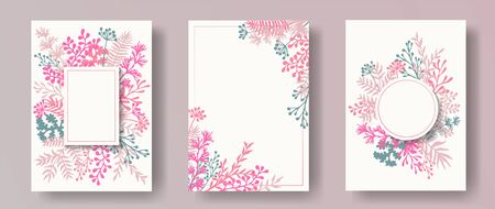 Watercolor herb twigs, tree branches, flowers floral invitation cards templates. Herbal corners creative invitation cards with dandelion flowers, fern, mistletoe, olive branches, savory twigs.