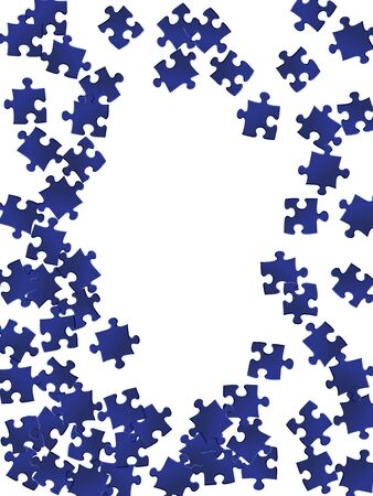 Abstract conundrum jigsaw puzzle dark blue pieces vector background. Group of puzzle pieces isolated on white. Cooperation abstract concept. Game and play symbols.