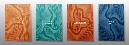 Futuristic covers linear design. Fluid curve shapes geometric lines patterns. Cool backgrounds for notepads, notice paper covers. Line shapes patterns, header elements. Cover page layouts set.