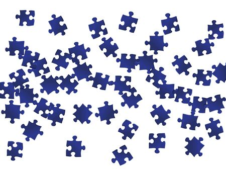 Business mind-breaker jigsaw puzzle dark blue parts vector illustration. Top view of puzzle pieces isolated on white. Teamwork abstract concept. Kids building kit pattern.