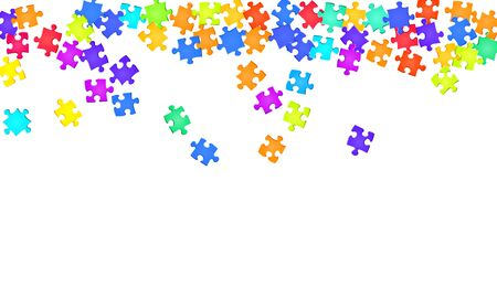 Abstract brainteaser jigsaw puzzle rainbow colors pieces vector background. Group of puzzle pieces isolated on white. Success abstract concept. Jigsaw gradient plugins. Иллюстрация