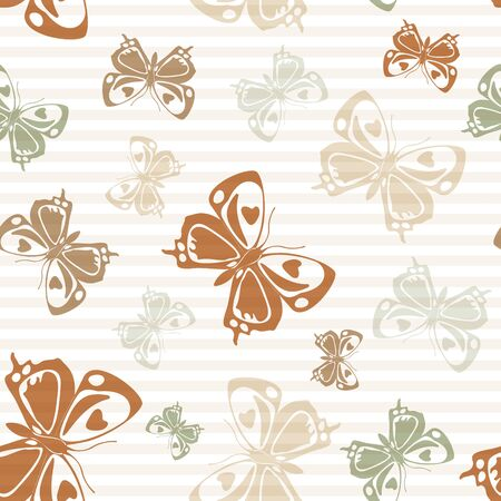 Flying modern butterfly silhouettes over horizontal stripes vector seamless pattern. Kids fashion textile print design. Lines and butterfly winged insect silhouettes seamless illustration. Ilustração