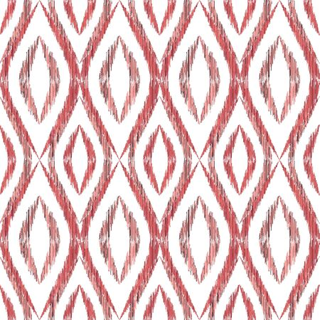 Ikat ogee seamless vector pattern design. Ethnic fabric print geometric ikat pattern. Cute ogee seamless repeating background. Ethnic motifs ikat textile print design. Clothes ornament.