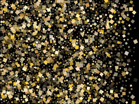 Festive gold confetti sequins sparkles scatter on black. Glittering New Year vector sequins background. Gold foil confetti party elements illustration. Many pieces party background. 版權商用圖片 - 135479789