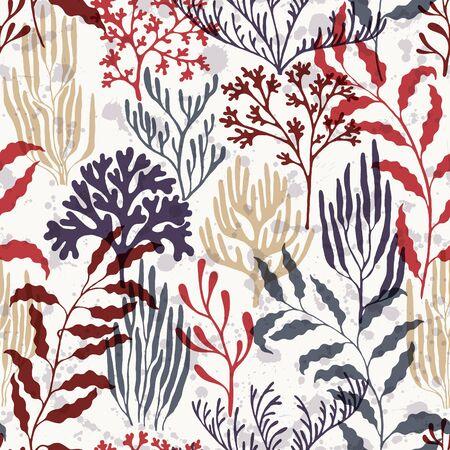Ocean corals seamless pattern. Kelp laminaria seaweed algae background. Abstract Great Barrier Reef corals background. Underwater plants textile print vector design. Natural summer pattern. Ilustração
