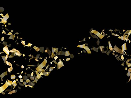 Gold shiny realistic confetti flying on black holiday vector background. Glamourous flying sparkle elements, gold foil texture serpentine streamers confetti falling carnival background.