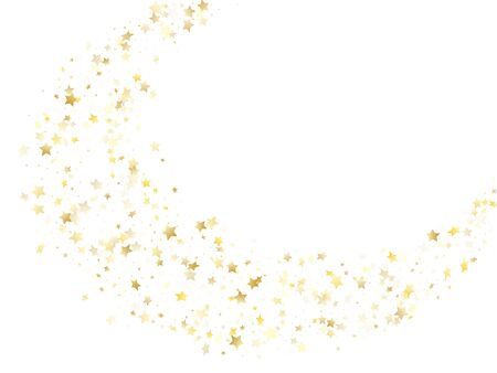 Magic gold sparkle texture vector star background. Shiny gold falling magic stars on white background sparkle pattern graphic design. Christmas starburst flying pattern.