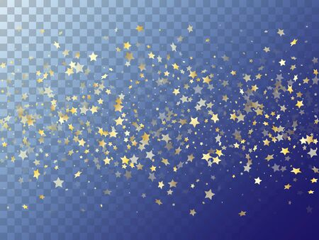 Star shining gold gradient sparkles on transparent background. Vintage vector magic stars gold falling sparkles with gradient texture on transparent. Christmas starburst lights banner pattern.