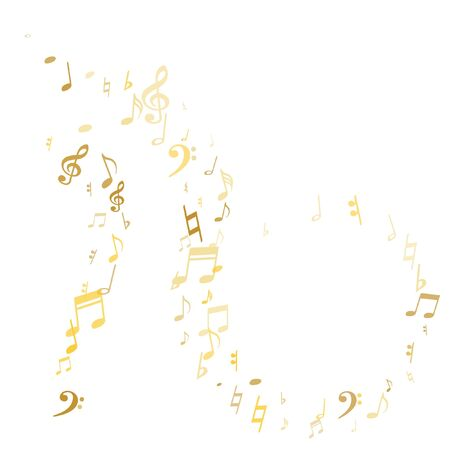 Gold flying musical notes isolated on white backdrop. Stylish musical notation symphony signs, notes for sound and tune music. Vector symbols for melody recording, prints and back layers.