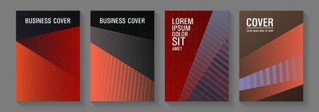 Geometric banner vector backgrounds. Vibrant gradient book backdrops. Thin stripes blend covers design set. Trendy stationery folder backgrounds. Educational certificates concept.