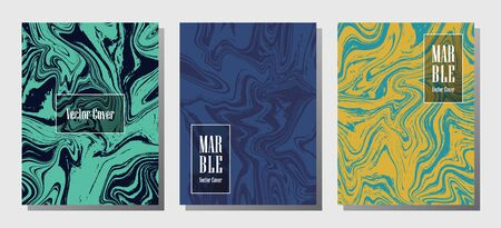 Trendy marble prints, vector cover design templates. Fluid marble stone texture iInteriors fashion magazine backgrounds  Corporate journal patterns set of liquid ink waves. Invitation cards set.