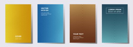 Dynamic cover templates set. Geometric lines patterns with edges, angles. Linear backgrounds for cataloges, corporate brochures. Line stripes graphics, title elements. Cover page templates.