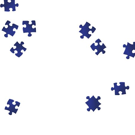 Business brainteaser jigsaw puzzle dark blue parts vector illustration. Scatter of puzzle pieces isolated on white. Challenge abstract concept. Connection elements.