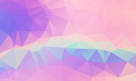 Low poly grid abstract holographic background with polygons, triangles. Holographic geometric pattern, tile backdrop. Fashion magazine cover background with neon metallic low poly gradient hologram.