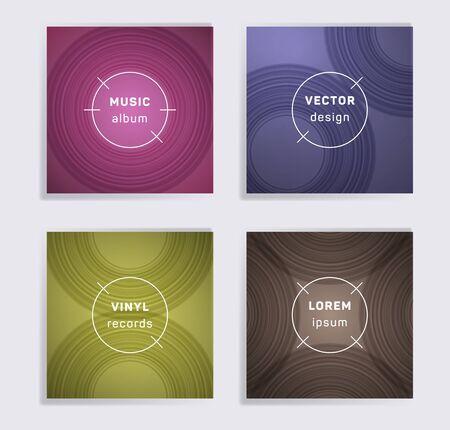 Retro vinyl records music album covers set. Semicircle curve lines patterns. Trendy creative vinyl music album covers, disc mockups. DJ records geometric layouts. Flyer gradient patterns.