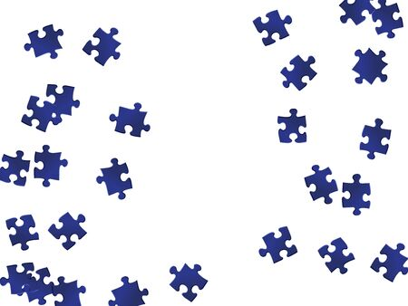 Business tickler jigsaw puzzle dark blue pieces vector background. Group of puzzle pieces isolated on white. Success abstract concept. Jigsaw gradient plugins.