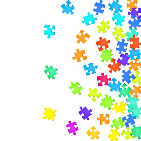 Game brainteaser jigsaw puzzle rainbow colors parts vector illustration. Group of puzzle pieces isolated on white. Strategy abstract concept. Game and play symbols.