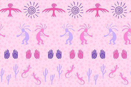 Southwestern native american vector ethnic tribal motifs seamless pattern. Aborigine design with gecko, Kokopelli fertility god, sun, bird, cacti. Authentic aboriginal textile print. Vector Illustration