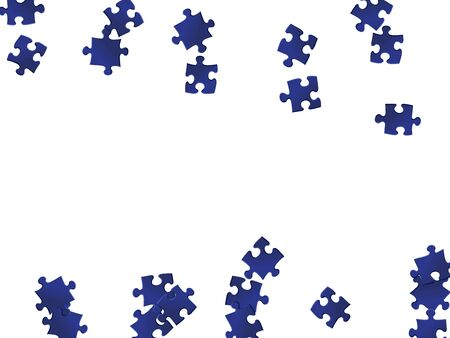 Abstract tickler jigsaw puzzle dark blue pieces vector background. Scatter of puzzle pieces isolated on white. Challenge abstract concept. Jigsaw pieces clip art.