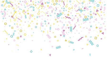 Memphis style geometric confetti vector background with triangle, circle, square shapes, chevron and wavy line ribbons. Tinsel 80s style bauhaus pink cyan yellow party confetti falling on white. Illustration