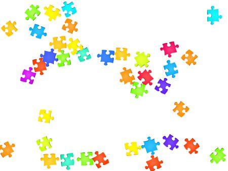 Abstract enigma puzzle arcobaleno colori pezzi sfondo vettoriale. Gruppo di pezzi di puzzle isolati su bianco. Concetto astratto di successo. Elementi di corrispondenza puzzle.