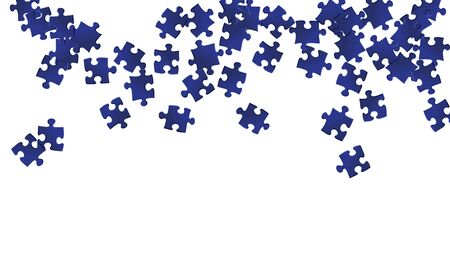 Business conundrum jigsaw puzzle dark blue pieces vector background. Top view of puzzle pieces isolated on white. Success abstract concept. Jigsaw pieces clip art.