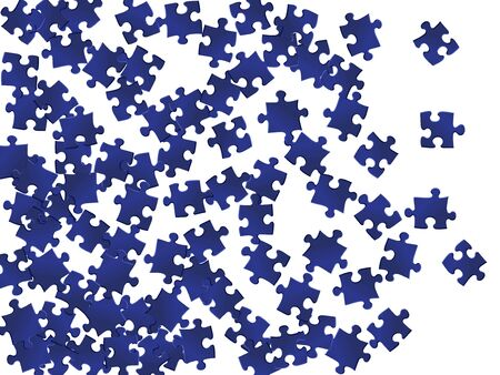 Game teaser jigsaw puzzle dark blue pieces vector background. Group of puzzle pieces isolated on white. Challenge abstract concept. Jigsaw match elements. Çizim