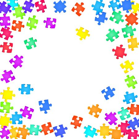 Game tickler jigsaw puzzle rainbow colors parts vector illustration. Scatter of puzzle pieces isolated on white. Teamwork abstract concept. Jigsaw pieces clip art.